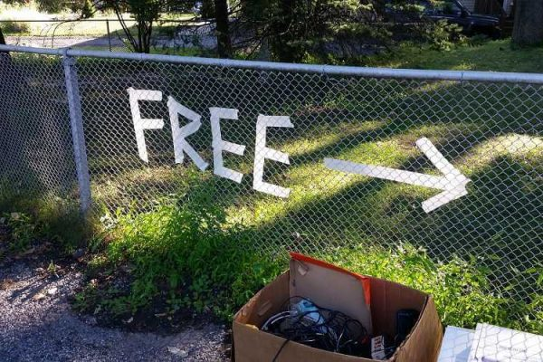 free sign on a fence