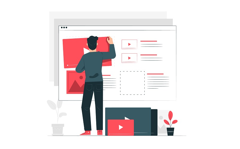 a mand designing a landing page