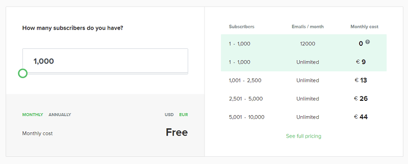 mailerlite pricing plans